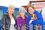 Aisling O'Toole, Laura Fitzpatrick and Sidney Pogatchnik with their puppy Levi at Glenbeigh races at Rossbeigh beach on Sunday.