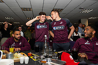 Pictured: Daniel James and Connor Roberts of Swansea City during the Swans Community Trust awards dinner at the liberty stadium in Swansea, Wales, UK <br /> Thursday 02 April 2019