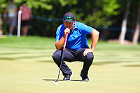 Darren Fichardt eyes up his putt at the 4th green during the BMW PGA Golf Championship at Wentworth Golf Course, Wentworth Drive, Virginia Water, England on 26 May 2017. Photo by Steve McCarthy/PRiME Media Images.
