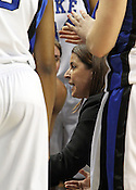 Duke Coach Joanne P. McCallie advises her team during a timeout.This was the Championship game of the 2011 ACC Tournament in Greensboro on March 6, 2011. Duke beat UNC 81-66. (Photo by Al Drago)