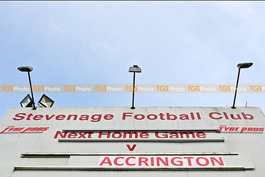 A sign outside the ground announces the fixture during Stevenage vs Accrington Stanley, Sky Bet League 2 Football at the Lamex Stadium, Stevenage, England on 19/12/2015