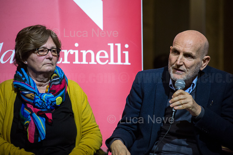 """Marino Sinibaldi.<br /> <br /> Rome, 03/02/20. The Galleria Alberto Sordi (outside la Feltrinelli store) was the venue for the book presentation """"Giulio Fa Cose"""" (Giulio Does Things, Ed. la Feltrinelli 1.) written by Paola Deffendi and Claudio Regeni (Giulio Regeni's Parents), and Alessandra Ballerini (Regeni's Lawyer). The event was hosted by Marino Sinibaldi (Journalist, literary critic, Radio host). Reader was Valerio Mastandrea (Director & Actor). From la Feltrinelli's website: «The world of politics has not yet responded to the tragedy of Giulio Regeni, who died on 25 January 2016 in Cairo. Al Sisi's Egypt did not respond. Indeed, it continues to sabotage the investigation into the kidnapping, torture and murder of the son of Paola and Claudio Regeni: in four years the Egyptians have killed five innocent people, invented incredible stories, falsified documents to remove suspects from their apparatuses. But without succeeding[…]» (1.)<br /> Giulio Regeni was an Italian Cambridge University graduate (PhD student at Girton College) who was kidnapped, tortured and killed in Egypt while he was researching Egypt's independent trade unions. The body of the 28-year-old researcher was found on a Cairo road on 3 February 2016. According to the autopsy, Giulio died after a vertebra in his neck was fractured. Moreover, his body - found on the Cairo-Alexandria desert road - shown signs of tortures, abrasions - including marks similar to cigarette burns - and fractures. After four years of disinformation, depistaggi, reticence, misdirection, the role of the Cambridge University, the role of President Al-Sisi Egyptian regime, after four years of a very difficult investigations for the Italian Police, the Regeni family and thousands of people are still calling for immediate truth about this brutal assassination.<br /> <br /> 1. http://bit.do/fqv39<br /> https://giuliosiamonoi.wordpress.com<br /> http://bit.do/frEzC<br /> 25.01.20 4 Anni Senza Giulio http://bit.do/frExj<br /> V"""