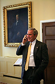 United States President George W. Bush congratulates San Francisco Giants' Barry Bonds in a phone call from the United States Department of the Treasury, Wednesday, August 8. 2007. Mr. Bonds hit his record-breaking 756th home run during last night's game against the Washington Nationals in San Francisco. <br /> Mandatory Credit: Chris Greenberg - White House via CNP