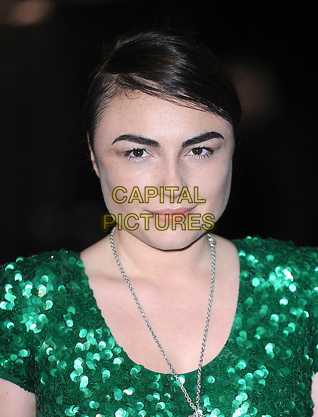 "LOIS WINSTONE .Attending the World Premiere of ""Avatar"", Odeon Leicester Square, London, England, UK, .10th December 2009..portrait headshot green sequined sequin necklace .CAP/BEL.©Tom Belcher/Capital Pictures."