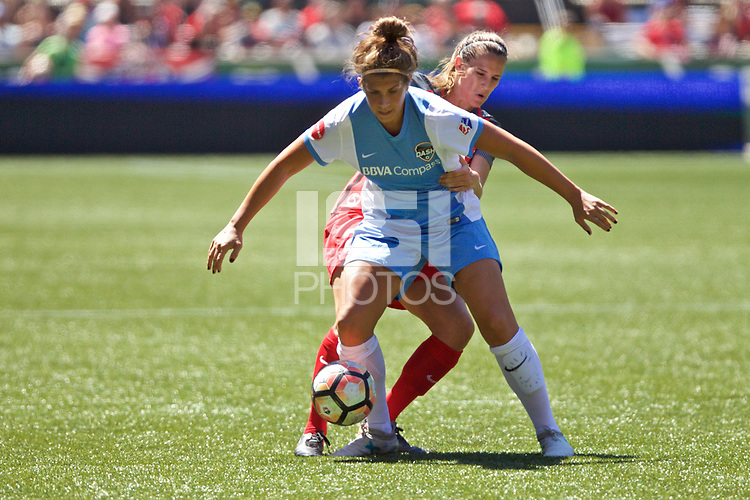 Portland, OR - Saturday August 05, 2017: Sarah Hagen, Katherine Reynolds during a regular season National Women's Soccer League (NWSL) match between the Portland Thorns FC and the Houston Dash at Providence Park.