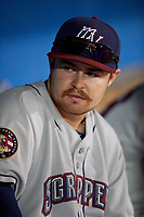 Mahoning Valley Scrappers Dillon Persinger (50) in the dugout during a game against the Batavia Muckdogs on August 16, 2017 at Dwyer Stadium in Batavia, New York.  Batavia defeated Mahoning Valley 10-6.  (Mike Janes/Four Seam Images)