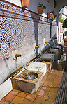 Moorish water fountain in the Andalucian village of Alcaucin, Malaga province, Spain