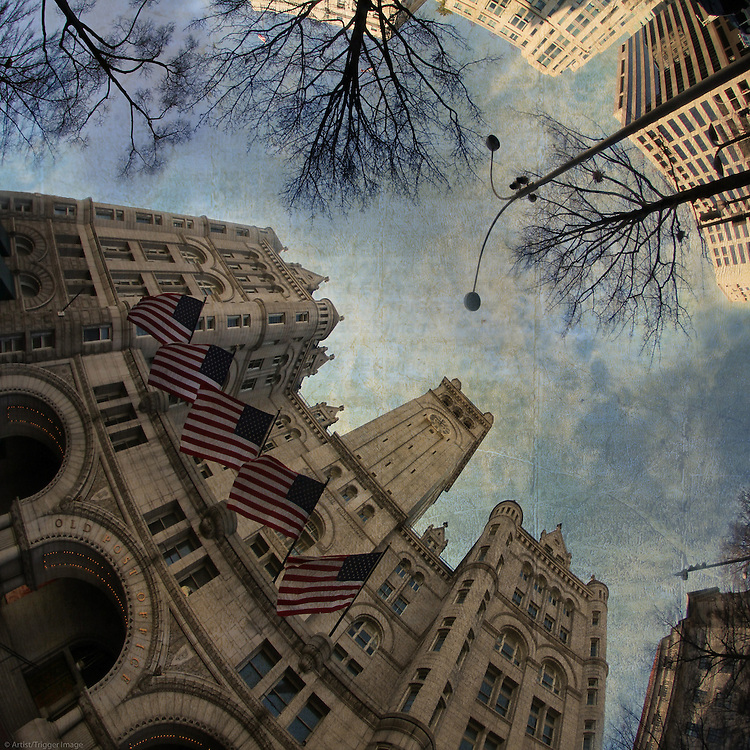 Low street view of city in America