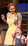 "Katharine McPhee and Delaney Quinn during her curtain call bows as she returns to ""Waitress"" at the Brooks Atkinson Theatre on November 25, 2019 in New York City."