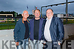 Cllr Sam Locke, John Brosnan from Kilcummin, and Tom Fleming T.D enjoying THE 'Friends Of Kerry General Hospital Benefit Night at the Kingdom Greyhound stadium on Friday