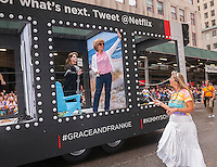 The Netflix float in the annual Lesbian, Gay, Bisexual and Transgender Pride Parade on Fifth Avenue in New York on Sunday, June 28, 2015. The parade was particularly boisterous due to the recent Supreme Court decision on same-sex marriage. The parade is the largest gay pride parade in the world.(© Richard B. Levine)