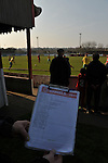 Stamford AFC 2 Marine 4, 29/03/2014. Wothorpe Road, Northern Premier League. Votes for the man of the match award are gathered during The Northern Premier League game between Stamford AFC and Marine from The Daniels Stadium. Marine won the game 4-2 in front of 320 supporters to boost their chances of relegation survival. Stamford AFC are moving to the brand new Zeeco Stadium at the end of the 2013/14 season Photo by Simon Gill.
