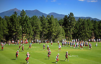 Jul 30, 2008; Flagstaff, AZ, USA; Arizona Cardinals players run plays during training camp on the campus of Northern Arizona University. Mandatory Credit: Mark J. Rebilas-