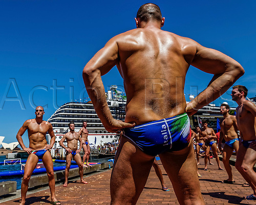 19.12.2015. The Italian National Team warm up prior to the Mens Australia versus Italy International Water Polo match at Campbell's Cove in Sydney, Australia.