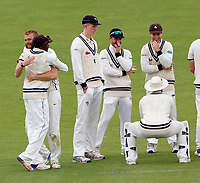 Kent players celebrate after Ivan Thomas captured the wicket of Ollie Robinson during day 2 of the Specsavers County Championship Div 2 game between Kent and Sussex at the St Lawrence Ground, Canterbury, on May 12, 2018