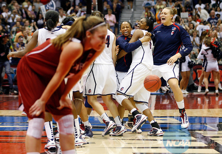 06 APR 2010:  The University of Connecticut celebrates their victory over Stanford University during the Division I Women's Basketball Championship held at the Alamodome in San Antonio, TX.  Connecticut defeated Stanford 53-47 for the national title.  Jamie Schwaberow/NCAA Photos