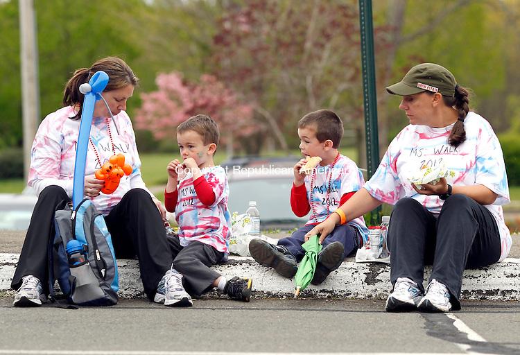 Cheshire, CT-22 April 2012-042212CM04-  Jeannine Heavens (left) enjoys sandwiches with her sons, Jonathan, 3, and Raymond 5, and Leslie Silva, all of Cheshire during the annual National Muscular Sclerosis Society walk Sunday morning at Cheshire High School.  The group was walking with team Angel Steps.   Christopher Massa Republican-American
