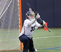 Penn State goalkeeper Cat Rainone (33) warms up before the game against Ohio State on April 1, 2017. No. 6 Nittany Lions won 16-12 over the Buckeyes.  Photo/©2017 Craig Houtz