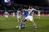 7th March 2020; Coliseum Alfonso Perez, Madrid, Spain; La Liga Football, Club Getafe Club de Futbol versus Celta Vigo; Jaime Mata (Getafe CF) holds off Okay Yokuslu (Celta de Vigo)