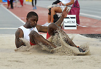 NWA Media/Michael Woods --05/29/2014-- w @NWAMICHAELW...University of Arkansas long jumper Raymond Higgs makes a jump in the mens long jump preliminaries Thursday afternoon at the 2014 NCAA Division 1 Track and Field West Preliminary track meet at John McDonnell Field in Fayetteville.