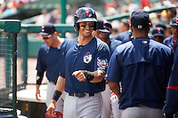 Pawtucket Red Sox second baseman Ryan Court (15) celebrates with teammates after scoring a run during a game against the Rochester Red Wings on June 29, 2016 at Frontier Field in Rochester, New York.  Pawtucket defeated Rochester 3-2.  (Mike Janes/Four Seam Images)