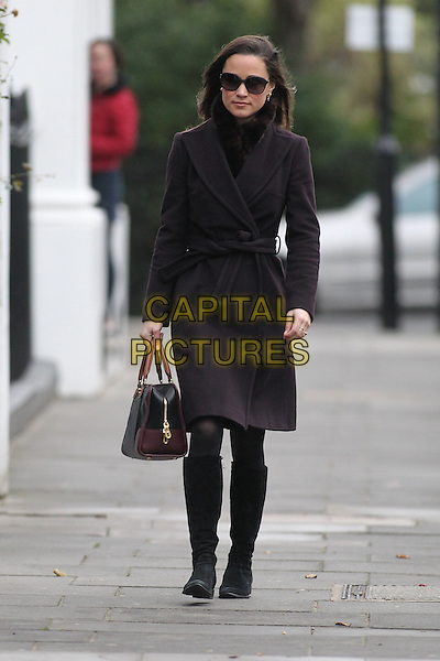 Pippa Middleton arrives for work, London, England..December 8th, 2011.full length sunglasses shades brown wrap belted coat maroon burgundy bag purse boots .CAP/HIL.©John Hillcoat/Capital Pictures .