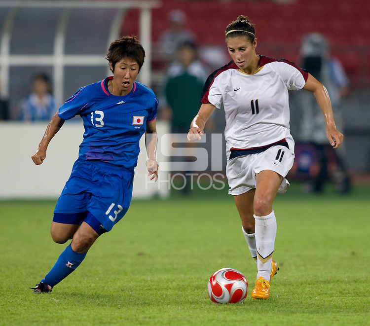 Ayumi Hara, Carli Lloyd. The USWNT defeated Japan, 4-2, during the semi-finals of the Beijing 2008 Olympics in Beijing, China.