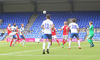 Fleetwood Town's Craig Morgan tries to lob the keeper<br /> <br /> Photographer Mick Walker/CameraSport<br /> <br /> Football Pre-Season Friendly - Tranmere Rovers  v Fleetwood Town  - Saturday 21st July 2018 - Prenton Park - Tranmere<br /> <br /> World Copyright &copy; 2018 CameraSport. All rights reserved. 43 Linden Ave. Countesthorpe. Leicester. England. LE8 5PG - Tel: +44 (0) 116 277 4147 - admin@camerasport.com - www.camerasport.com