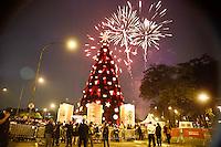 SAO PAULO SP, 08.11.2013 - INAUGURAÇÃO DA ARVORE DE NATAL IBIRAPUERA - Inauguracao da arvore de Natal do Parque do Ibirapuera com 58 metros de altura, na noite deste domingo. 08.(Foto Ale Vianna/Brazil Photo Press).