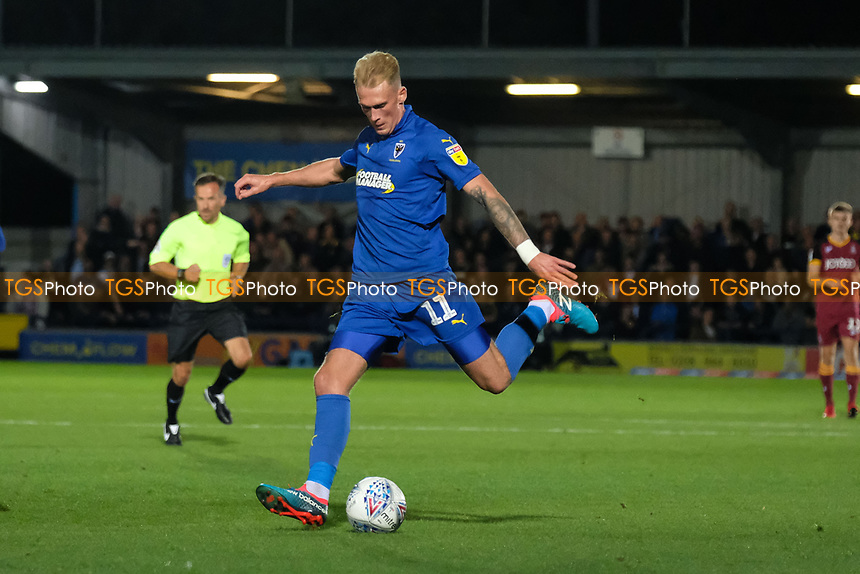 Mitchell Pinnock of AFC Wimbledon has a shot on goal during AFC Wimbledon vs Bradford City, Sky Bet EFL League 1 Football at the Cherry Red Records Stadium on 2nd October 2018
