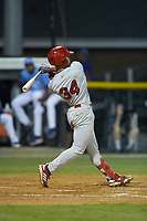 Trejyn Fletcher (34) of the Johnson City Cardinals follows through on his swing against the Burlington Royals at Burlington Athletic Stadium on September 3, 2019 in Burlington, North Carolina. The Cardinals defeated the Royals 7-2 to even Appalachian League Championship series at one game a piece. (Brian Westerholt/Four Seam Images)