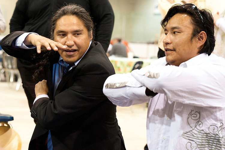 """Traditional """"Hand Game"""" played as part of """"Treaty Days"""" in Fort Chipewyan, Alberta."""