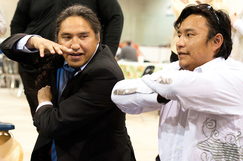 "Traditional ""Hand Game"" played as part of ""Treaty Days"" in Fort Chipewyan, Alberta."