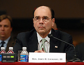 """Washington, D.C. - September 23, 2008 -- United States Federal Housing Finance Agency Director James B. Lockhart, III  testifies before the United States Senate Committee on Banking, Housing and Urban Affairs on """"Turmoil in US Credit Markets: Recent Actions Regarding Government Sponsored Entities, Investment Banks and Other Financial Institutions"""" in Washington, D.C. on Tuesday, September 23, 2008.  The hearing focused on the United States Government's proposed 700 billion U.S. dollar bail-out of the banking system caused by poor lending practices of U.S. banks.<br /> Credit: Ron Sachs / CNP"""