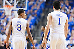 Guards Tyler Ulis and Devin Booker of the Kentucky Wildcats enter the game during the game against the Missouri Tigers at Rupp Arena on Tuesday, January 13, 2015 in in Lexington, Ky. Kentucky defeated Missouri 86-37. Photo by Michael Reaves | Staff
