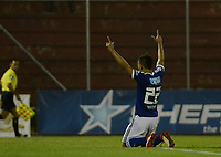 RIONEGRO - COLOMBIA, 08-03-2018: Jhon Duque Arias de Millonarios celebra después de anotar un gol a Rionegro Águilas durante partido por la fecha 7 de la Liga Águila I 2018 jugado en el estadioAlberto Grisales de la ciudad de Rionegro. / Jhon Duque Arias of Millonarios celebrates after scoring a goal to Rionegro Aguilas during match for the date 7 of the Aguila League I 2018 played at Alberto Grisales stadium in Rionegro city. Photo: VizzorImage/ León Monsalve /Cont