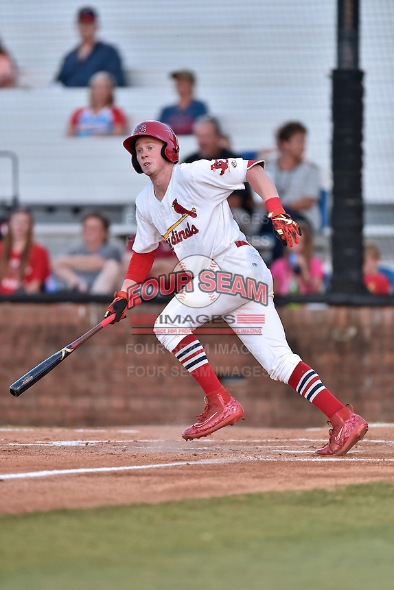 Johnson City Cardinals third baseman Bryce Denton (25) swings at a pitch during Game Two of the Appalachian League Championship series against the Burlington Royals at TVA Credit Union Ballpark on September 7, 2016 in Johnson City, Tennessee. The Cardinals defeated the Royals 11-6 to win the series 2-0.. (Tony Farlow/Four Seam Images)