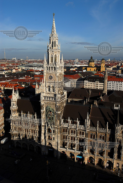 A view of Munich City Hall and Marienplatz from the vantage point of the Alter Peter (St. Peter's Church) tower.