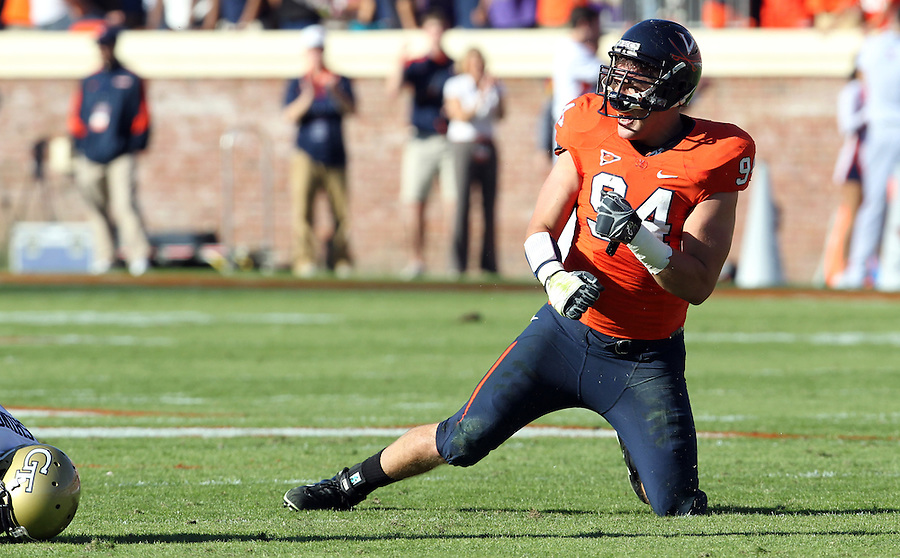 Oct. 15, 2011-Charlottesville, VA.-USA- Virginia Cavaliers defensive tackle Matt Conrath (94) reacts to a play during the ACC football game against Georgia Tech at Scott Stadium. Virginia won 24-21. (Credit Image: © Andrew Shurtleff
