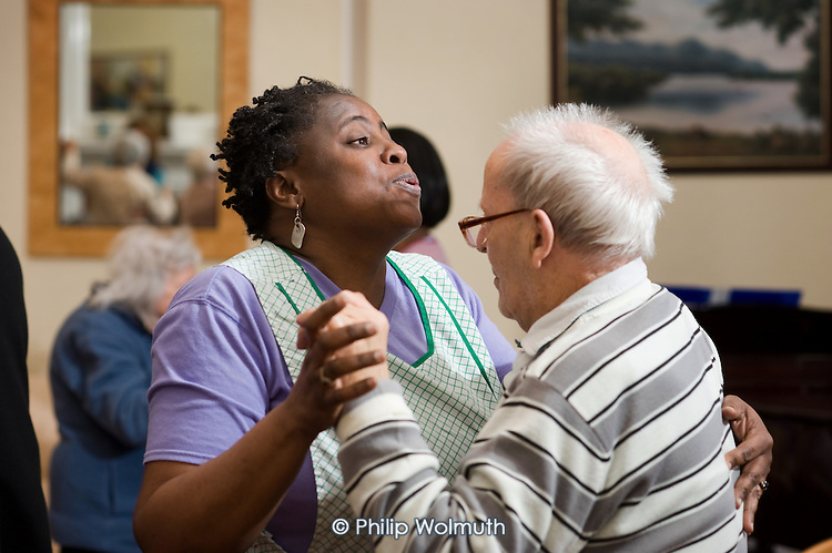 Music therapy session run by the Nordoff Robbins charity at Branch Hill House residential home for the elderly, Camden.