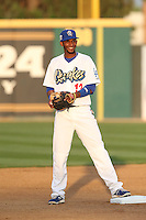 Delvis Morales (12) of the Rancho Cucamonga Quakes in the field during a game against the Modesto Nuts at LoanMart Field on May 39, 2015 in Rancho Cucamonga, California. Rancho Cucamonga defeated Modesto, 13-2. (Larry Goren/Four Seam Images)