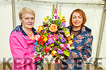 Kathleen Reidy from Castleisland who won the Peoples Choice Award stands with her niece Kathryn Smyth at the Flower Show in the Town Park at the Féile na mBláth on Sunday