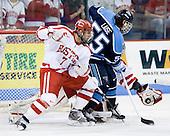 Brian Strait (BU - 7), Vince Laise (Maine - 55), Brett Bennett (BU - 31) - The Boston University Terriers defeated the University of Maine Black Bears 1-0 (OT) on Saturday, February 16, 2008 at Agganis Arena in Boston, Massachusetts.