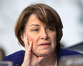 "United States Senator Amy Klobuchar (Democrat of Minnesota) listens to the debate about the release of documents designated ""committee confidential"" prior to the US Senate Judiciary Committee beginning the third day of testimony from Judge Brett Kavanaugh on his nomination as Associate Justice of the US Supreme Court to replace the retiring Justice Anthony Kennedy on Capitol Hill in Washington, DC on Thursday, September 6, 2018.<br /> Credit: Ron Sachs / CNP<br /> (RESTRICTION: NO New York or New Jersey Newspapers or newspapers within a 75 mile radius of New York City)"