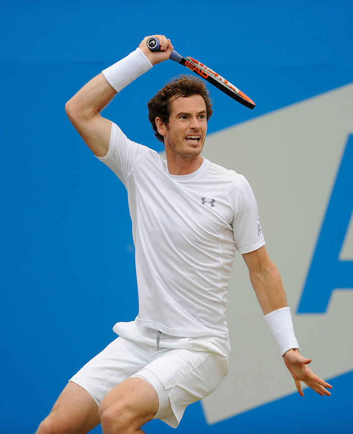 Andy Murray (GBR) in action today during his match against Viktor Troicki (SRB) in their Men&rsquo;s Singles Semi Final match<br /> <br /> Photographer Ashley Western/CameraSport<br /> <br /> Tennis - ATP 500 World Tour - AEGON Championships- Day 6 - Saturday 20th June 2015 - Queen's Club - London <br /> <br /> &copy; CameraSport - 43 Linden Ave. Countesthorpe. Leicester. England. LE8 5PG - Tel: +44 (0) 116 277 4147 - admin@camerasport.com - www.camerasport.com