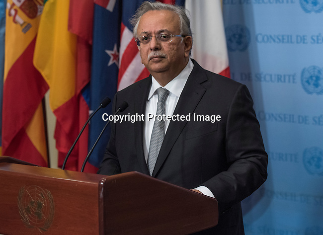 Saudi Arabia Ambassador to United Nations Mr Abdullah bin Yahya Almoalimi speaks to the press at the SC stakeout on the use of cluster bombs in Yaman