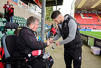 Lincoln City's Tom Pett signs an autograph for a fan<br /> <br /> Photographer Chris Vaughan/CameraSport<br /> <br /> The EFL Sky Bet League One - Lincoln City v Sunderland - Saturday 5th October 2019 - Sincil Bank - Lincoln<br /> <br /> World Copyright © 2019 CameraSport. All rights reserved. 43 Linden Ave. Countesthorpe. Leicester. England. LE8 5PG - Tel: +44 (0) 116 277 4147 - admin@camerasport.com - www.camerasport.com