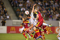 CARSON, CA - March 8, 2014: Los Angeles Galaxy forward Rob Friend (16) is fouled in the box late in the LA Galaxy vs Real Salt Lake match at the StubHub Center in Carson, California. Final score, LA Galaxy 0, Real Salt Lake  1.