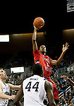 January 21, 2012:    Fresno State Bulldogs forward Kevin Foster lays the ball up against the Nevada Wolf Pack during their NCAA basketball game played at Lawlor Events Center on Saturday night in Reno, Nevada.