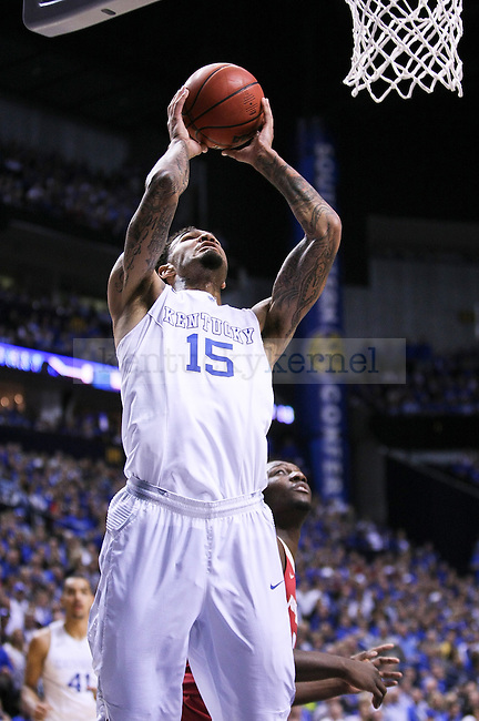 Kentucky center Willie Cauley-Stein shoots the ball during the first half of the Championship game of the SEC tournament against Arkansas in Nashville , Tenn., on Sunday, March 15, 2015. Photo by Jonathan Krueger | Staff